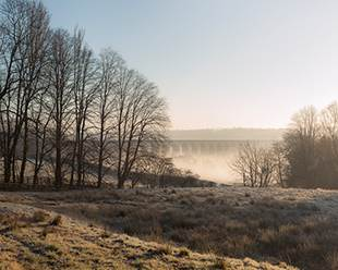 Crimple Viaduct with winter mist
