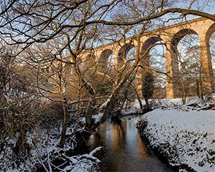 Crimple Beck and Viaduct in winter