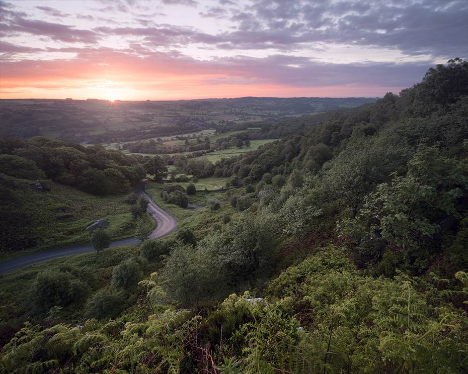 Mid summer dawn looking over the Nidd Valley in North Yorkshire