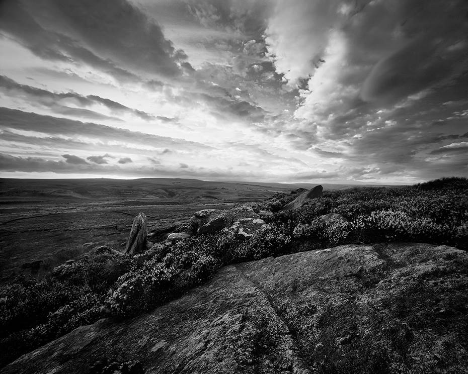 Black and white moorland landscape taken at the top of a moorland ridge in North Yorkshire