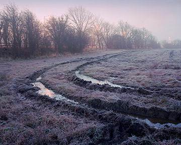 Frost covered field next to the A61